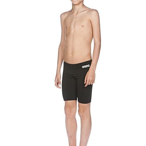 arena Jungen Trainings Badehose Solid Jammer (Schnelltrocknend, UV-Schutz UPF 50+, Chlorresistent, Kordelzug), Schwarz (Black-White), 140