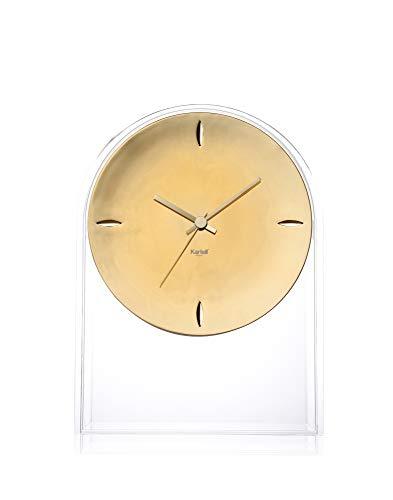 Kartell Air du Temps Table Clock, 21.5 x 8 x 30 cm, Crystal Clear/Gold
