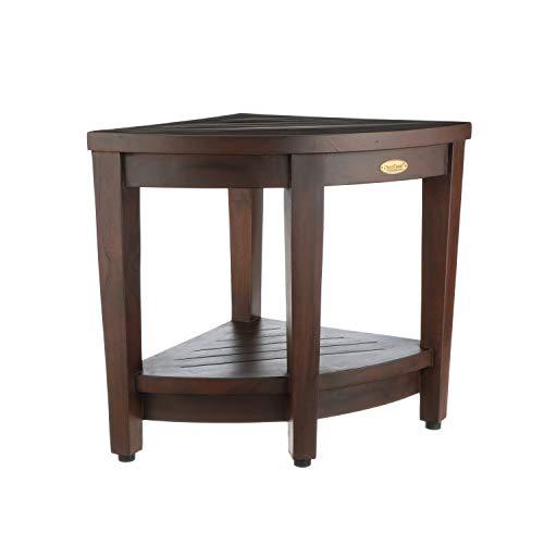 Decoteak Oasis Fully Assembled Teak Corner Shower Bench with Shelf- Shower Sitting, Storage, Saving Foot Rest