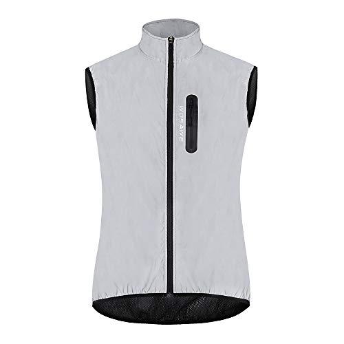 WOSAWE Men Reflective Vest Night Glowing Bomber Jacket MTB Cycling Windbreaker Travel Sport Sleeveless Vests M