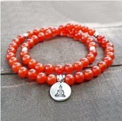 RBRP9999 - Carnelian Half Mala Stretch Yoga Meditation Healing Bracelet Buddha Charm Power Beads 54 Beads Health Energy Bracelet (Buddha)