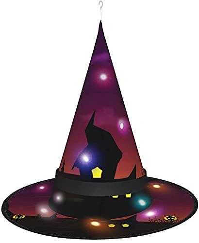 KINGAM Sombrero de bruja Halloween Noche truco o trato LED Luminoso Cap Bruja Cadena Luces Halloween Decoración para patio al aire libre interior árbol negro