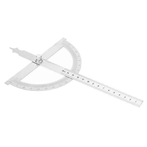 Regla de transportador, regla de goniómetro, regla de buscador de ángulos de acero inoxidable con tuerca de bloqueo, regla y combinación de transportador 2 en 1 para una medición fácil(150 * 200 mm)