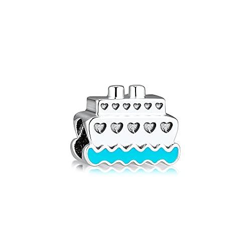 LIIHVYI Pandora Charms para Mujeres Cuentas Plata De Ley 925 Love Cruise Ship Metal Argent Jewelry Compatible con Pulseras Europeos Collars
