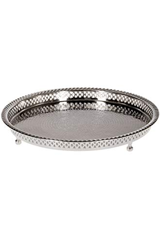 Oosterse ronde messing dienblad verzilverd Mahra | Marokkaans theetafeltje in de kleur zilver | Orient zilverkleurig | Oosterse decoratie op de gedekte tafel