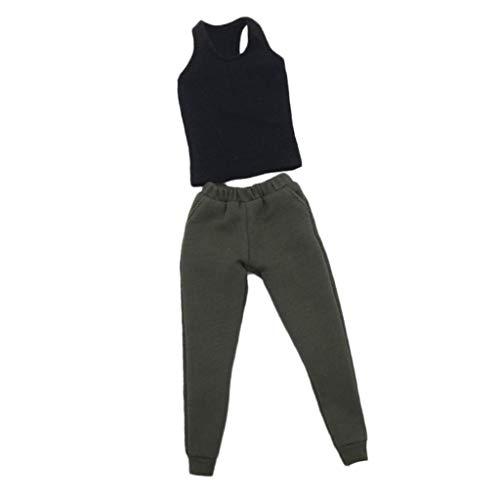 Bonarty 1/6 Skala Männliche Kleidung Weste Hosen Set Kleidung Sportkleidung Für 12 ''Action Figure Toys Doll - Schwarze Weste + grüne Hose