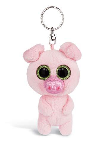 Nici 46315 Glubschis Schwein Zuzumi 9cm Schlüsselanhänger, Plüschtieranhänger mit Schlüsselring, Stofftierschlüsselhalter, Pink