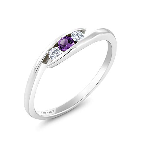 18K White Gold Solitaire Ring Round Purple Amethyst and Forever Classic Created Moissanite 0.12ct (DEW) by Charles & Colvard (Size 9)