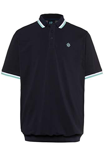 JP 1880 Herren große Größen bis 8XL, Bauch-Poloshirt, längere Form, Piqué mit Streifenbündchen, Halbarm, Navy 4XL 714328 70-4XL
