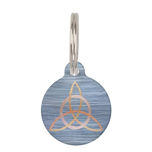 SLobyy Stainless Steel Pet ID Tags, Dog Tags, Cat Tags, Triquetra Pet Chic Blue Gold Celtic Trinity Knot Pet Name Tag for Dogs and Cats