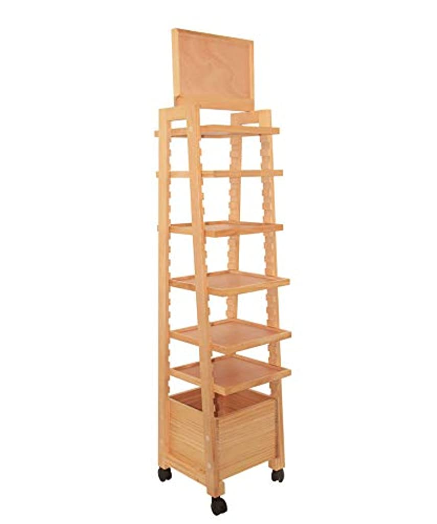 Large 6-Tiers Storage Display Rack Tools & Paints Shelf, Multifunctional Freestanding Shelves with 4 Brake Wheels