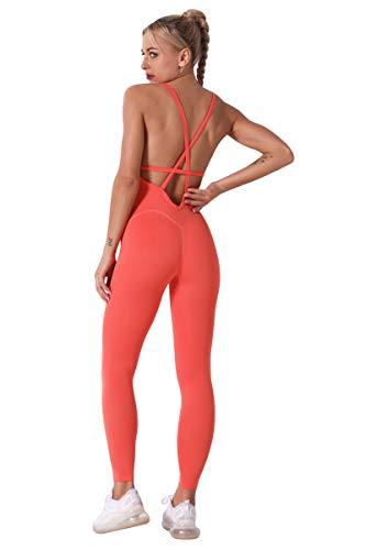 Mujeres One Piece Yoga Cuello en V Mono Alta Cintura Elásticos Leggings Sexy Pantalones Backless Fitness Jumpsuit