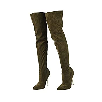 Cape Robbin Holdtight Faux Suede Thigh High Over The Knee Boots Pointed Toe Stiletto Heel Fashion Dress Boots for Women - Olive Size 7.5