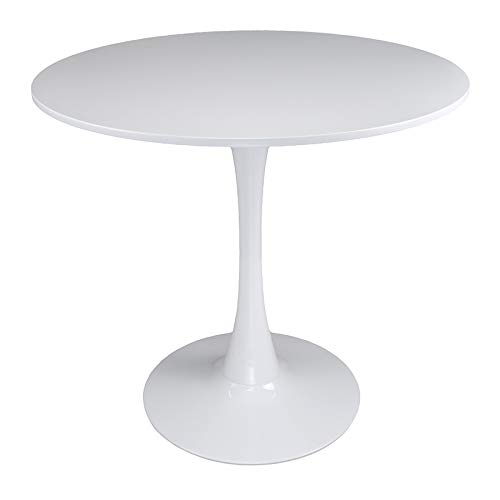 Tavolo tulip rotondo Ø80 cm, tavolo da pranzo tondo bianco mod. Omar