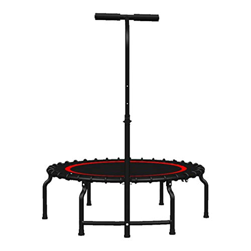 Trampoline Lxn Silent Fitness Mini with Adjustable Handrail Handle Bar – Indoor for Adults – Best Urban Cardio Workout Home Trainer, Covered Bungee Rope System – Max Limit 400 lbs