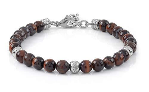 10:10 Bracciale con pietre naturali occhio di tigre rosso, beads in acciaio inox, prodotto in Italia