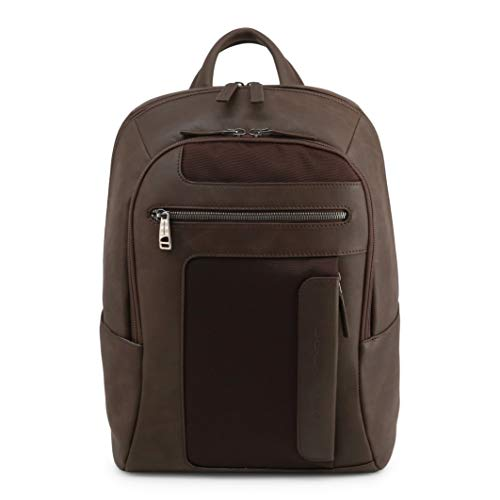Piquadro - Bags Rucksacks - Women's Bags - Piquadro Leather & Canvas Backpack in Brown - brown - NOSIZE