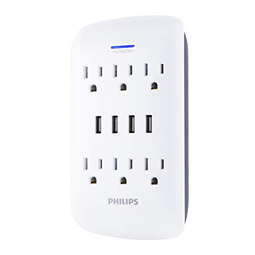 Philips 6-Outlet Surge Protector Wall Tap with USB Charging Station, 4 Ports, Power Adapter, White, SPP6463WG/37