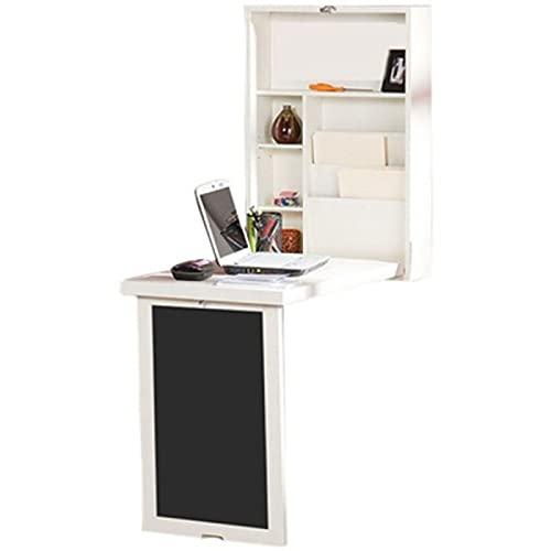 YAHAO Escritorio de pared plegable, para ahorrar espacio, escritorio plegable con caja de libros de almacenamiento y pizarra convertible adecuado para la oficina en casa