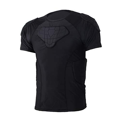 Men's Padded Compression Shirt Protective Short Sleeve T...
