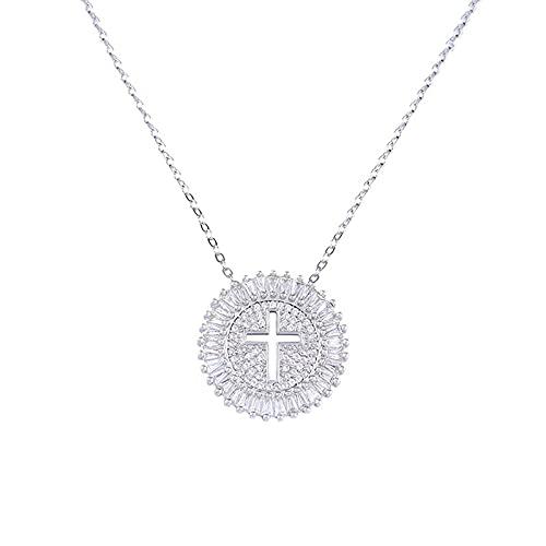 PIG-GIRL Gold/Silber Mini Zeitgenössische Cut-Out Kreuz Halskette Kette Zirkonia Diamant Anhänger Vergoldet Schmuck Geschenk Für Frauen Mädchen (Farbe : Silber)