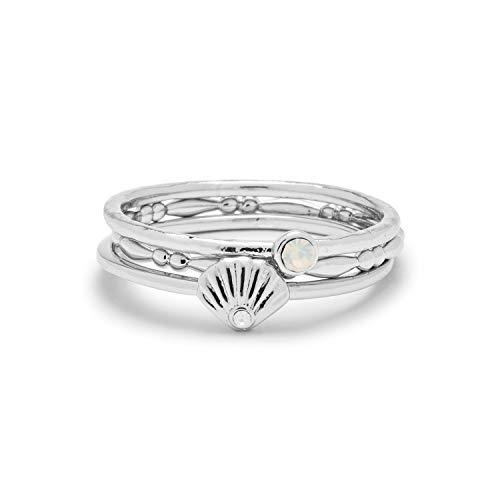 Pura Vida Silver-Plated Opal Shell Ring Stack - Brass Base, Stylish Design - Set of 3, Size 9
