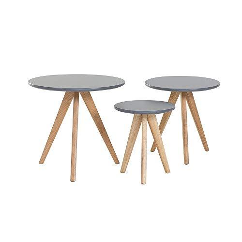 Salontafels – set met 3 bijzettafels, grijs – vegas
