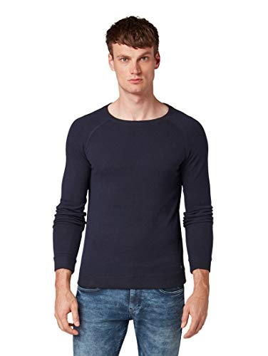 TOM TAILOR Herren Pullover & Strickjacken Lässiger Sweater Knitted Navy Melange,S