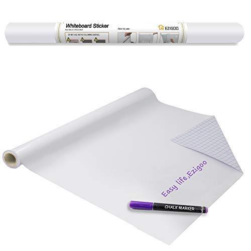 pizarra blanca adhesiva Ezigoo - Etiqueta autoadhesiva de papel de pizarra blanca 60 x 310 cm, Papel de calcomanía de tablero de mensajes, Rollo para oficina, hogar o escuela con 1 marcador de tiza
