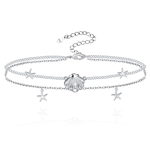 Hxillery Anklet 925 Sterling Silver Anklets Bracelet Layered Shell Starfish Beach Sea Wave Birthday Gifts for Women Teen Girls Friends Wife