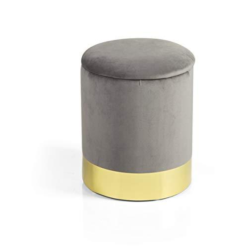 Baroni Home Pouf Contenitore in Velluto Grigio Poggiapiedi con Base Dorata 31X31X39 cm