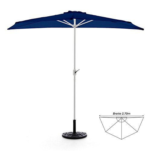 Nexos GM35094_SL Komplett-Set Sonnenschirm Blau Halb-Schirm Balkonschirm Wandschirm halbrund 2,70m mit passendem Schirmständer und Schirmschutzhülle, 270 x 140 x 235 cm