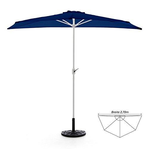 Nexos GM35094_SL Set Completo Balcone e paravento, semicircolare, 2,70 m, con Supporto per ombrellone e Custodia Protettiva, Blu, 270 x 140 x 235 cm