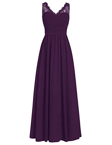 Brautjungfernkleider Spitze Lang A-Linie Chiffon Ballkleider V-Ausschnitt Ärmellos Abendkleider Hochzeit Kleider Traube 34