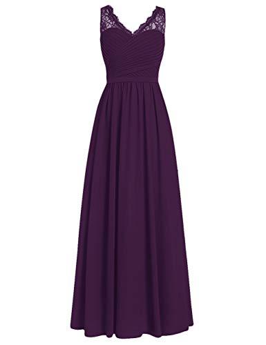 Brautjungfernkleider Spitze Lang A-Linie Chiffon Ballkleider V-Ausschnitt Ärmellos Abendkleider Hochzeit Kleider Traube 44