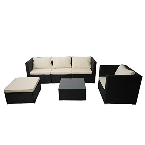 Mendler Poly-Rattan-Garnitur Brescia, Gartengarnitur Sitzgruppe Sofa Lounge-Set - schwarz, Kissen Creme