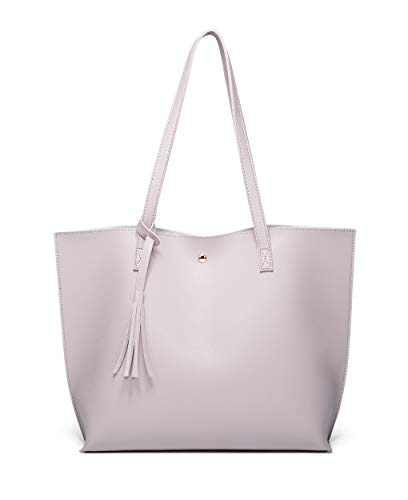 Women's Soft Faux Leather Tote Shoulder Bag from Dreubea, Big Capacity Tassel Handbag Offwhite