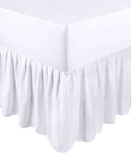 Utopia Bedding Falda De Cama con Volantes - Cama 135 - Extra Profundas (Ajuste De Caja 25 cm + 40 cm Volantes Caída) - (Blanco, 135 x 190 cm)