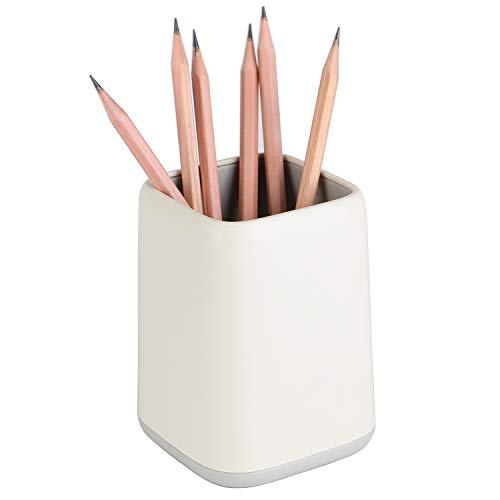 YOSCO Desk Pen Holder Stand Two-tone Pencil Cup Pot Desk Organizer Makeup Brush Holder (White)