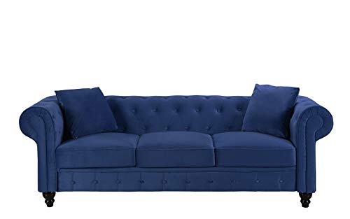 BHDesign Mila - Sofá Chesterfield de 3 plazas, terciopelo, color azul marino