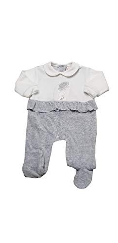 PASTELLO Tutina neonata in ciniglia con piedini per bambina corredino (TC06Z GRIGIO, 3-6 MESI)