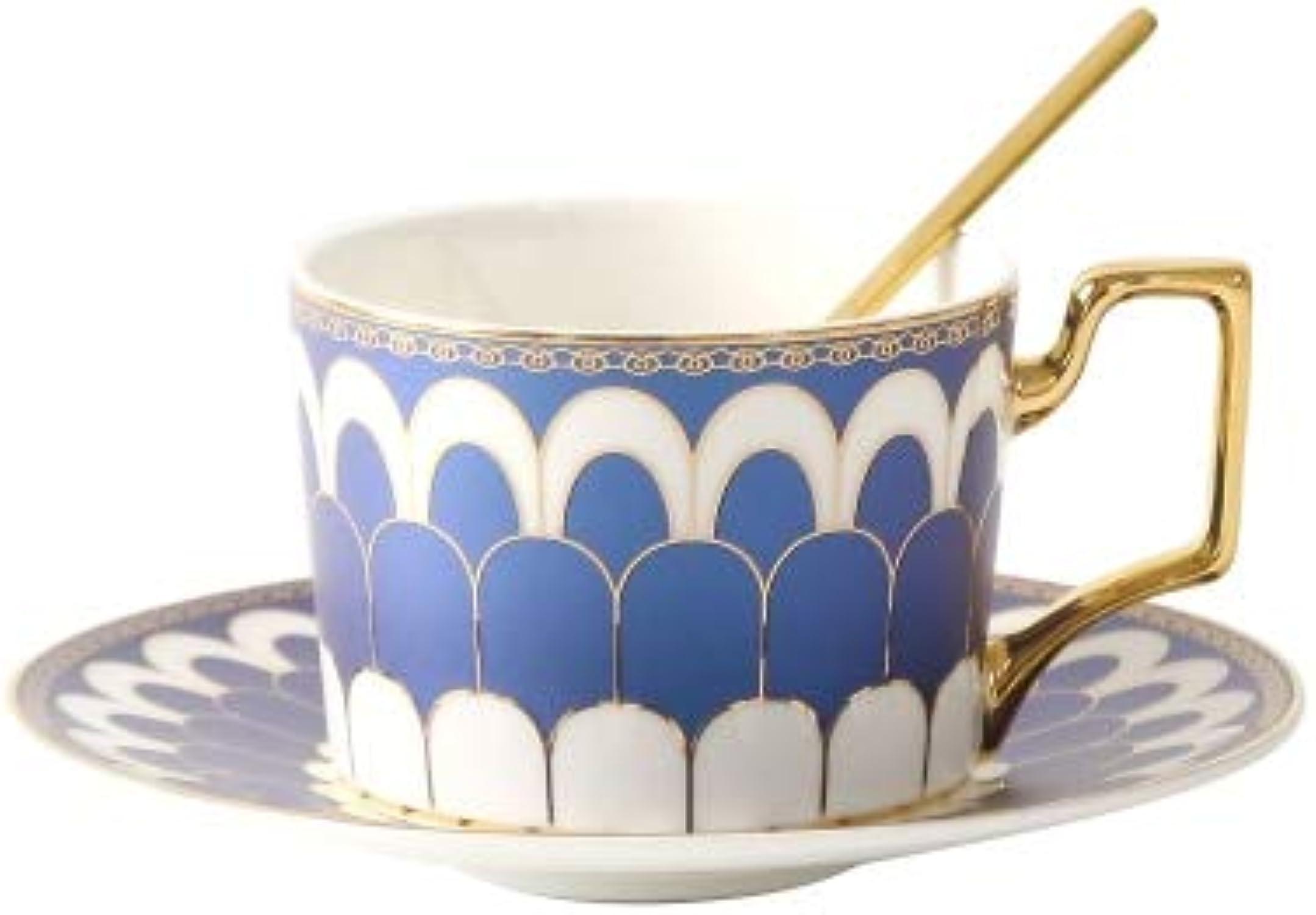 KBWL européen craeative café Tasse Soucoupe Ensemble ménage après-midi Tasse à thé avec Plateau Simple Or Peint céramique Petit déjeuner Lait Tasse en céramique 03 Set