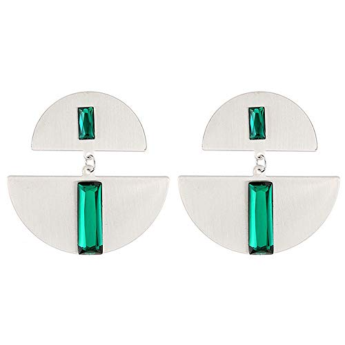 Aretes Nuevos Pendientes Grandes De Gota Semicírculo De Metal Plateado Para Mujer, Pendiente Colgante De Cristal Verde Geométrico, Joyería De Moda Brinco