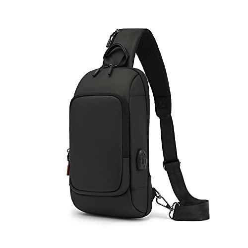 Reinnboo ボディバッグ メンズ 防水 大容量 ショルダーバッグ 斜めがけカバン ワンショルダーバッグ ボディーバッグ 軽い USBポート 黒 通勤