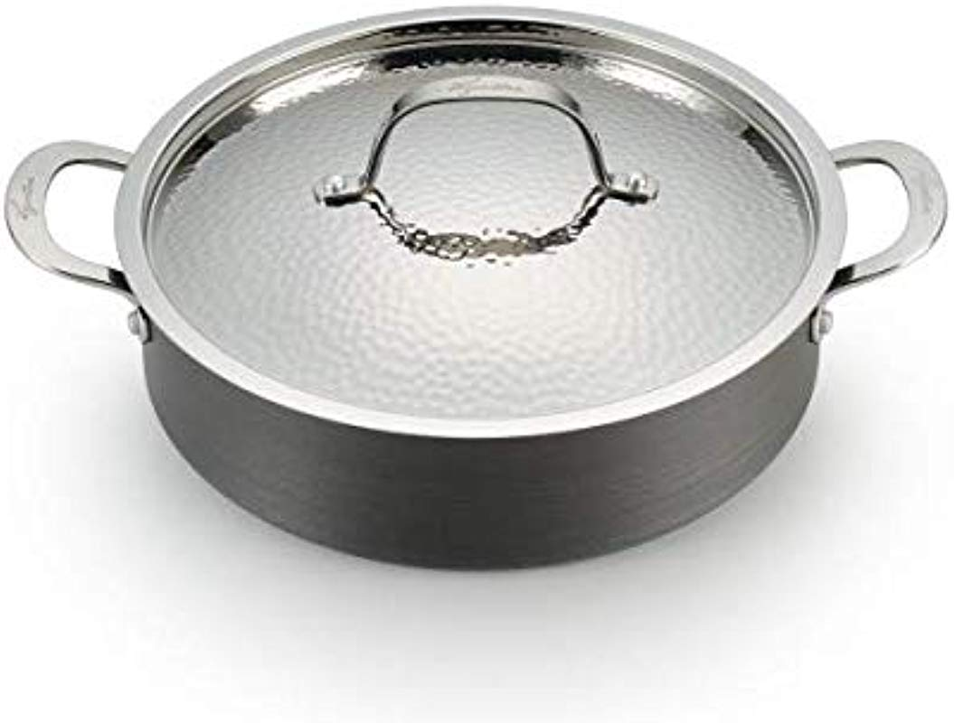 Lagostina H9047264 Nera Hard Anodized Nonstick 5 Quart Casserole With Hammered Stainless Steel Lid Dishwasher Safe Cookware Grey