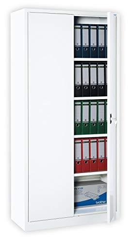 Lüllmann Weißer Flügeltürenschrank kompl. montiert und verschweißt Schrank Stahl Stahlblech Lagerschrank Aktenschrank 4 Fachböden 530347 weiß 1950 x 920 x 420 mm