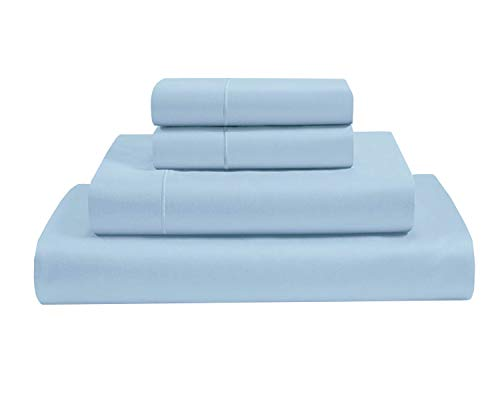 Clay Bedding 4 Piece Bed Set With Duvet Cover, Fitted Sheet And Pillow Cases duvet Set And Sheet Duvet Set 100% Egyptian Cotton - Light Blue (Double)