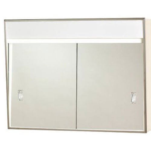 701L Series Sliding Medicine Cabinet, 2 Light With Courtesy Outlet, 24'
