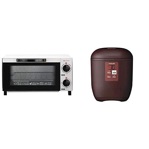 【新生活2点セット買い】コイズミ オーブントースター ホワイト KOS-1012/W + 小型 炊飯器 ライスクッカーミニ タイマー予約 ブラウン (0.5~1.5合) KSC-1512/T