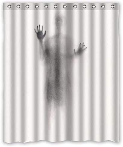 """KR.LIF Funny Man Scary Halloween Scary Stalker Shower Curtain Horror Mysterious Scary Silhouette Shadow Shower Curtain for bathroom decor Polyester Waterproof Fabric(60"""" W x 72"""" H)"""